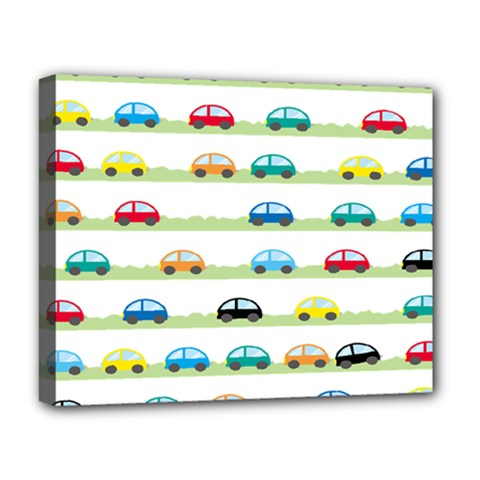 Small Car Red Yellow Blue Orange Black Kids Deluxe Canvas 20  X 16   by Mariart