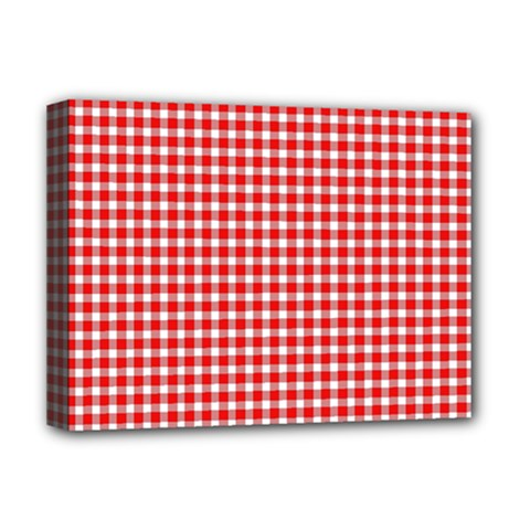 Plaid Red White Line Deluxe Canvas 16  X 12   by Mariart