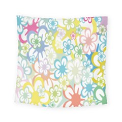 Star Flower Rainbow Sunflower Sakura Square Tapestry (small) by Mariart
