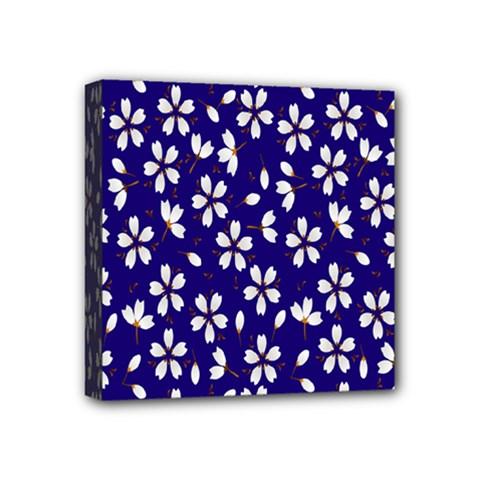 Star Flower Blue White Mini Canvas 4  X 4  by Mariart