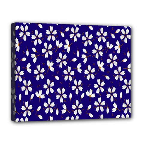 Star Flower Blue White Canvas 14  X 11  by Mariart