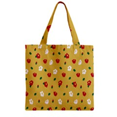 Tulip Sunflower Sakura Flower Floral Red White Leaf Green Zipper Grocery Tote Bag by Mariart