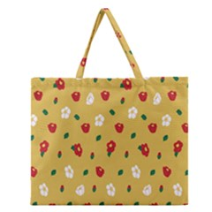 Tulip Sunflower Sakura Flower Floral Red White Leaf Green Zipper Large Tote Bag by Mariart
