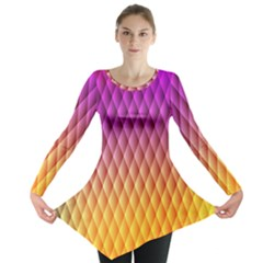Triangle Plaid Chevron Wave Pink Purple Yellow Rainbow Long Sleeve Tunic  by Mariart