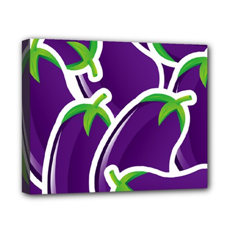 Vegetable Eggplant Purple Green Canvas 10  X 8  by Mariart