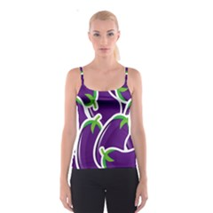 Vegetable Eggplant Purple Green Spaghetti Strap Top by Mariart