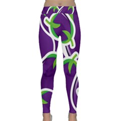 Vegetable Eggplant Purple Green Classic Yoga Leggings by Mariart