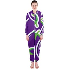 Vegetable Eggplant Purple Green Hooded Jumpsuit (ladies)  by Mariart