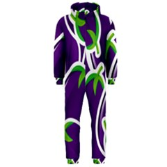 Vegetable Eggplant Purple Green Hooded Jumpsuit (men)  by Mariart