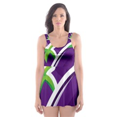 Vegetable Eggplant Purple Green Skater Dress Swimsuit by Mariart