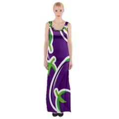 Vegetable Eggplant Purple Green Maxi Thigh Split Dress by Mariart