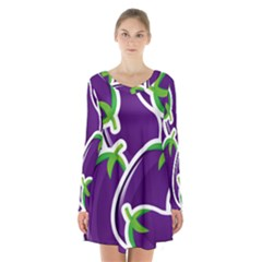 Vegetable Eggplant Purple Green Long Sleeve Velvet V Neck Dress by Mariart