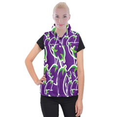 Vegetable Eggplant Purple Green Women s Button Up Puffer Vest by Mariart