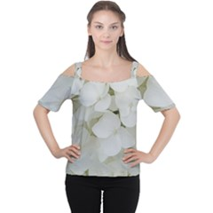 Hydrangea Flowers Blossom White Floral Photography Elegant Bridal Chic  Women s Cutout Shoulder Tee