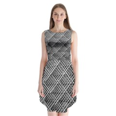 Pattern Metal Pipes Grid Sleeveless Chiffon Dress