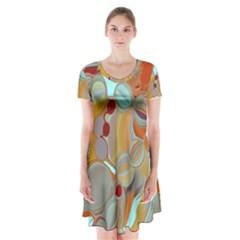 Liquid Bubbles Short Sleeve V-neck Flare Dress