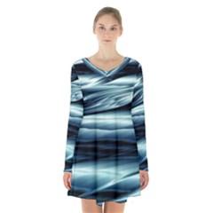 Texture Fractal Frax Hd Mathematics Long Sleeve Velvet V Neck Dress
