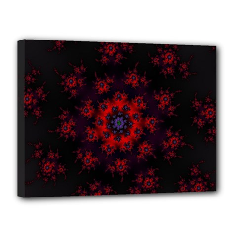 Fractal Abstract Blossom Bloom Red Canvas 16  X 12  by Nexatart