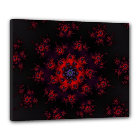 Fractal Abstract Blossom Bloom Red Canvas 20  X 16  by Nexatart