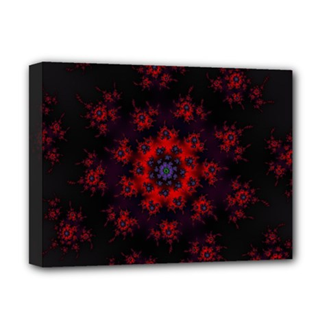 Fractal Abstract Blossom Bloom Red Deluxe Canvas 16  X 12