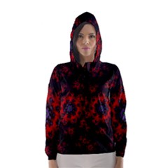 Fractal Abstract Blossom Bloom Red Hooded Wind Breaker (women)