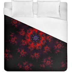 Fractal Abstract Blossom Bloom Red Duvet Cover (king Size) by Nexatart