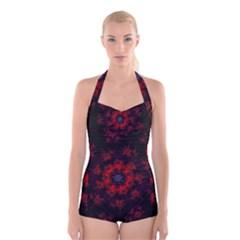 Fractal Abstract Blossom Bloom Red Boyleg Halter Swimsuit