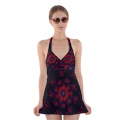Fractal Abstract Blossom Bloom Red Halter Swimsuit Dress