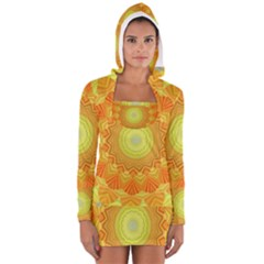Sunshine Sunny Sun Abstract Yellow Women s Long Sleeve Hooded T Shirt
