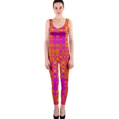 Pink Orange Bright Abstract Onepiece Catsuit