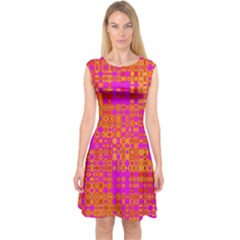 Pink Orange Bright Abstract Capsleeve Midi Dress