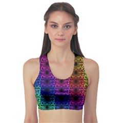 Rainbow Grid Form Abstract Sports Bra