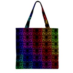 Rainbow Grid Form Abstract Zipper Grocery Tote Bag by Nexatart