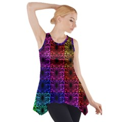 Rainbow Grid Form Abstract Side Drop Tank Tunic