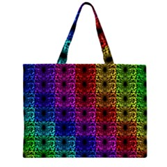 Rainbow Grid Form Abstract Zipper Large Tote Bag by Nexatart