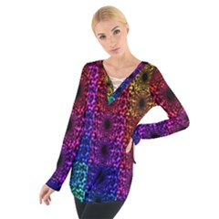 Rainbow Grid Form Abstract Women s Tie Up Tee