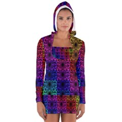 Rainbow Grid Form Abstract Women s Long Sleeve Hooded T Shirt