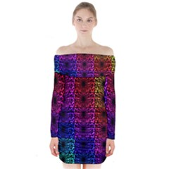Rainbow Grid Form Abstract Long Sleeve Off Shoulder Dress