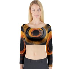 Fractal Pattern Long Sleeve Crop Top