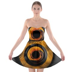 Fractal Pattern Strapless Bra Top Dress