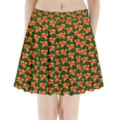 Background Wallpaper Flowers Green Pleated Mini Skirt