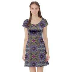 Vintage Abstract Unique Original Short Sleeve Skater Dress