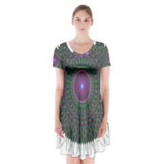 Pattern District Background Short Sleeve V Neck Flare Dress