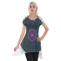 Pattern District Background Short Sleeve Side Drop Tunic