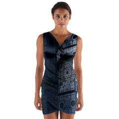 Graphic Design Background Wrap Front Bodycon Dress