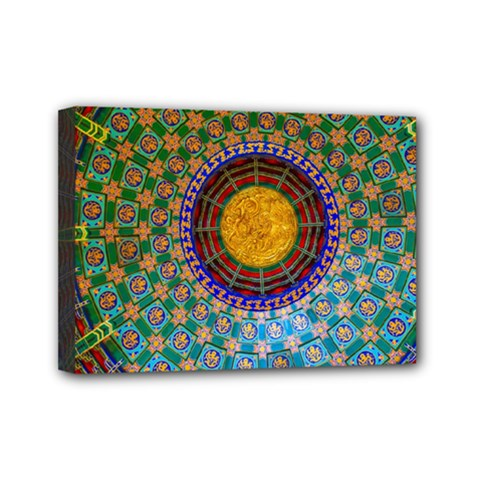 Temple Abstract Ceiling Chinese Mini Canvas 7  X 5  by Nexatart