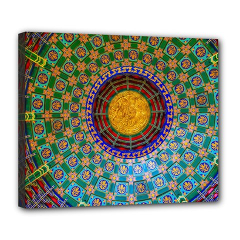 Temple Abstract Ceiling Chinese Deluxe Canvas 24  X 20   by Nexatart