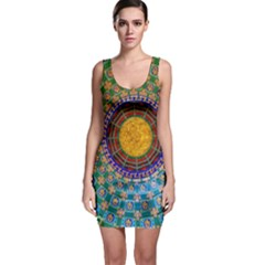 Temple Abstract Ceiling Chinese Sleeveless Bodycon Dress