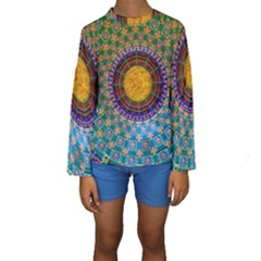 Temple Abstract Ceiling Chinese Kids  Long Sleeve Swimwear