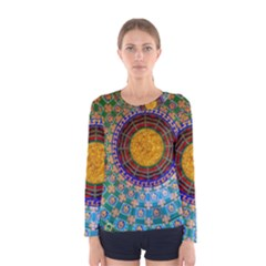 Temple Abstract Ceiling Chinese Women s Long Sleeve Tee